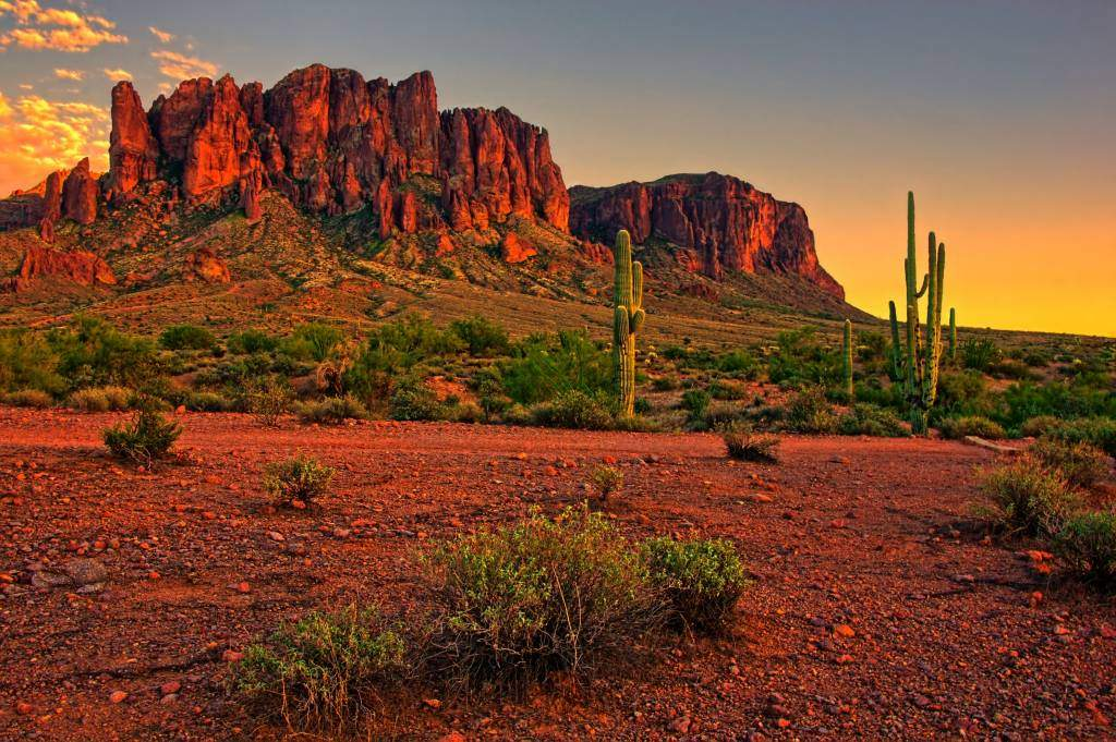 Desert Mountain Sunset Near Phoenix, Arizona, USA